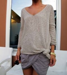 Loose Worn Out Sweater + Short Skirt.