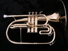 "The mellophone is a three-valved brass instrument in the key of F that is used in marching bands and drum and bugle corps in place of horns. These instruments are used instead because their bells face forward instead of to the back (or to the side).  Fingering for the mellophone is the same as fingering for a trumpet; they are, however, considered to be ""mid-voice"" instruments, unlike the trumpet."