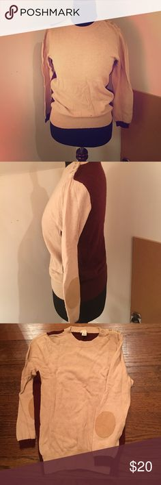 J.Crew factory Sweater Color block elbow patch sweater.                                          Tan color front and maroon color back.                    Elbow patches are tan as well. J. Crew Sweaters Crew & Scoop Necks