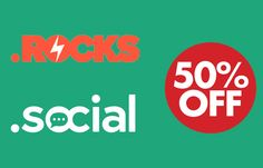 Save 50% off on .Social and .Rocks at Name.com