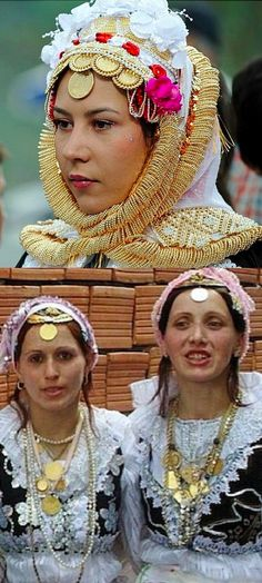 top: Gorani girl from Kosovo wearing festive headgear. bottom: traditional festive costumes from the Prizren region (southern Kosovo). The Gorani are a Slavic Muslim ethnic group, speaking a transitional South Slavic dialect, called Našinski.