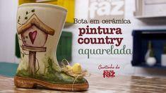 Bota em cerâmica - Pintura Country Aquarelada (Vera Portela)