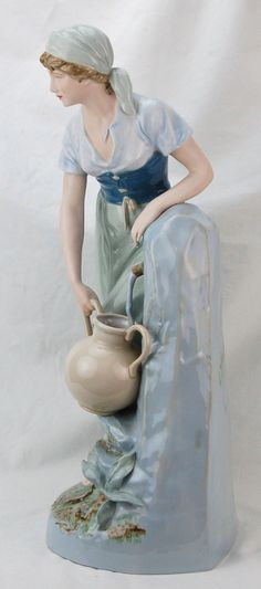 Huge Royal Dux Hand Painted Porcelain Figure Lovely Woman at Fountain