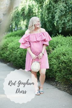 Favorite Summer Trends: Red Gingham Off the Shoulder Dress