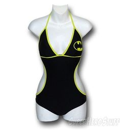 Batman bathing suit. I'd totally wear this if the sides weren't cut out like that....