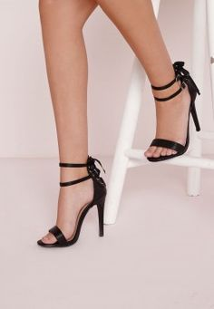 Lace Back Double Strap Heeled Sandals Black