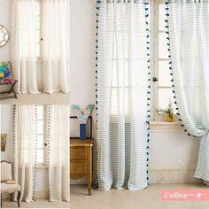 関税・送料込,梨花愛用BRAND anthropologie Pom Tassel Curtain 本体は透け感のあるボーダーの生地を使用し、お部屋を明るく演出してくれる一枚です。
