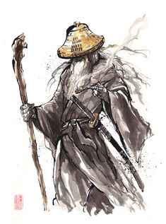 Gandalf Samurai sumi style by MyCKs.deviantart.com on @deviantART
