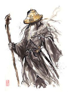 Gandalf Samurai sumi style by MyCKs.deviantart.com on @deviantART