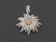 Pendant in silver filigree with goldplated center, handmaded in italy weight: 5.40 gr ************************************************************ All items are handmade and personally designed. Custom orders are welcome! ************************************************************