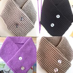 Cuellos tejidos con lana a dos agujas