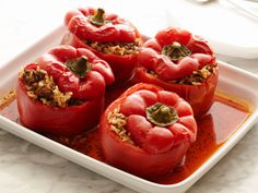 Lightened-Up Stuffed Peppers recipe from Food Network Kitchen via Food Network