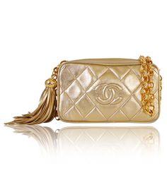 Authentic Chanel Gold Metallic Lamb Skin Tassel Shoulder Bag Rare