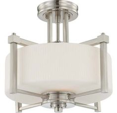 Nuvo Lighting 60/4713 Wright Two Light Semi-Flush Ceiling Fixture with Satin White Glass, in Brushed Nickel Finish Image