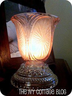 Ceiling fan light shades to candle holders Glass Garden Art, Glass Art, Ceiling Fan Globes, Chandeliers, Globe Crafts, Globe Lights, Fan Lights, Glass Candle Holders, Candlestick Holders