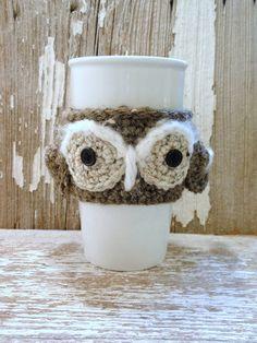 GRAY OWL crocheted Coffee Sleeve or Tea COZY . .