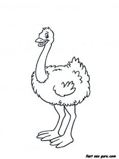 free Printable Animal Little ostrich coloring pages for kide