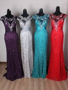 Trumpet/Mermaid Long Prom Dresses,Scoop Neck Tulle Lace Evening Dresses,Watteau Train with Appliques Lace Formal Party Dresses