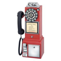 Old Fashioned Phone Payphone Classic Retro Vintage Telephone Red Look 1950's New #Crosley