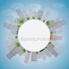 Letöltés - Szürke város felhőkarcolók, a kék ég — Stock Illusztráció #72316735
