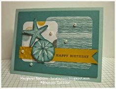 Fun Stampin' with Margaret!  By the Seashore set, CCMC305 Sketch; Lost Lagoon, Hello Honey, Soft Sky.  Moonlight DSP.