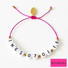 BRACELET PRENOM ET DATE DE NAISSANCE via elodietrucparis. Click on the image to see more!