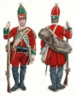 A British grenadier corporal in marching order, c. 1750.