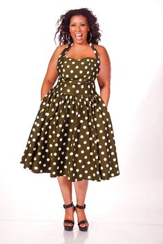 JIBRI Plus Size Polka Dot Halter Dress by jibrionline on Etsy, $220.00.....Love the vintage look.