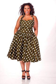 JIBRI Plus Size Polka Dot Halter Dress by jibrionline on Etsy, $220.00