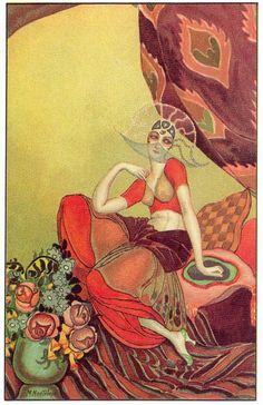 """Art Deco postcard 1 by M. Montedoro, 1920s. Scanned from the book """"A History of Postcards"""" by Martin Willoughby"""