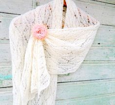 Bride Wedding Knitted Shawl Shoulder Knit Wrap White Lace Wedding Scarf Wedding Shawl White knitted shawl hands White bridal wrap natural by LidiaAndVary on Etsy