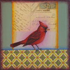 Cardinal, bird, painting, art, pattern, vintage postcard www.rachelpaxton.com