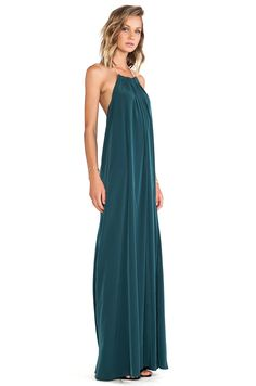 titanias woods backless dark teal maxi dress sexy
