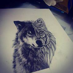 """295 curtidas, 9 comentários - Tico Tattoo (@tico_tattoo) no Instagram: """"#wolf #wolftattoo #lobo #lobotattoo #blackandgreytattoo #blackandgrey #searchtattoo…"""""""