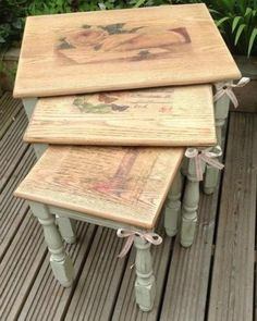 Shabby Chic Green Distressed Chalk Paint Beautiful Distressed Nest Of Oak Tables   eBay