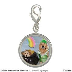Golden Retriever St. Patrick's Day Pot of Golden Photo Charms