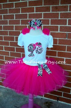 Pink Barbie Damask Tutu Set. includes 5 Pieces. Custom made. via Etsy