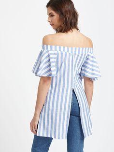 Blue Striped Off The Shoulder Embroidered Slit Hem Top