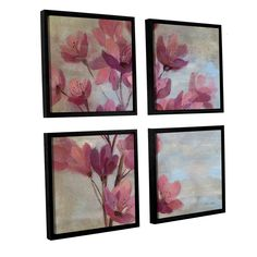 ArtWall Silvia Vassileva's April Blooms II 4 Piece Floater Framed Sqare Set