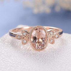 Antique Bezel Set Morganite Engagement Ring White Gold Wedding Ring Flower Leaf Oval Cut Pink Morganite Ring Milgrain Anniversary Bridal - W. Beautiful Wedding Rings, White Gold Wedding Rings, Wedding Rings Vintage, Wedding Jewelry, Bridal Jewellery, Fashion Jewellery, Gold Jewellery, Vintage Jewellery, Bridal Rings