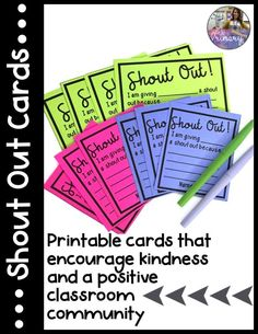 These shout out cards are great for promoting kindness and a positive classroom community! This would be more of an individual activity. Student Behavior, Classroom Behavior, Classroom Environment, Future Classroom, School Classroom, Classroom Activities, Classroom Management, Classroom Ideas, Behavior Plans
