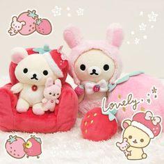 pink Korilakkuma bear plush cellphone holder chair rabbit by San-X 3