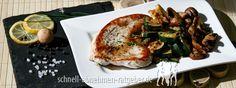 Putenschnitzel mit Zucchini und Champignons