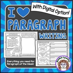 Fun and effective paragraph writing practice! In addition to the printable writing prompts and graphic organizers, you will also get access to paperless Google Drive slides to use with Google Classroom and other digital platforms.