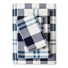 Flannel Sheet Set (Cal King) Blue Plaid - Threshold