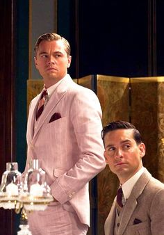The Great Gatsby movie. Leonardo Di Caprio and Toby Maguire. #CelebStyleWed