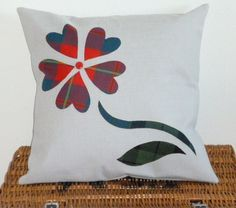 Lovely Handmade Heart Flower Tartan Cushion by RecyKilt on Etsy