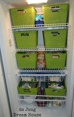 Really organized freezer using Target baskets, dry erase markers, and foam letters (Could use baskets from Dollar Store to cut down costs)