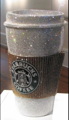 Jonathan Stein's Swarovski crystal sculpture of a Starbucks cup at (Bling: Art that Shines display at the Cornell Museum of Art) Copo Starbucks, Starbucks Cup Art, Custom Starbucks Cup, Boujee Aesthetic, Bad Girl Aesthetic, Glitter Photography, Cute Cups, Sparkles Glitter, Glitz And Glam