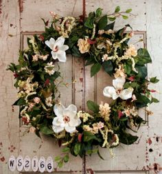 Magnolia Wreath White Front Door Wreaths